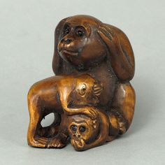 Boxwood Wood Netsuke 3 MONKEYS Figurine Carving WN847 - tide-mammoth
