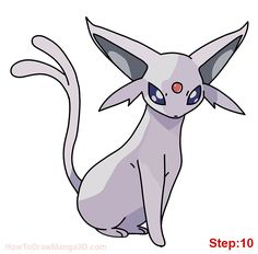 How to draw Espeon Pokemon step: 10