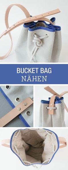 Nähanleitung für einen eleganten Bucket Bag mit Lederriemen / cool sewing tutorial: how to sew a bucket bag via DaWanda.com
