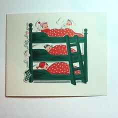 A330- Vintage Norcross Four-up Xmas Card Chikdren In Green Triple Bunk Bed Cute