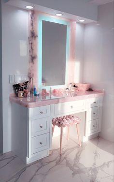Attic Bedroom Designs, Room Ideas Bedroom, Bedroom Decor, India Home Decor, Neon Bedroom, Beauty Room Decor, Washroom Design, Pink Vanity, Shoe Room