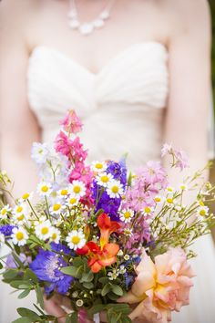 Wildflower Handtied Bouquet Daisies Hand Crafted Colourful Country Wedding http://www.theimagegarden.co.uk/