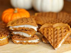 Pumpkin Waffles with Brown Sugar-Cinnamon Cream Cheese Filling - Great for breakfast, snack, or dessert!
