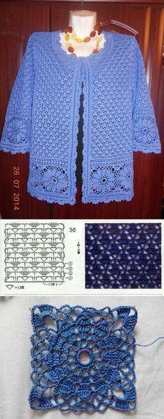 Discover thousands of images about La chaqueta por el gancho de Natalia Bugay Débardeurs Au Crochet, Crochet Pincushion, Gilet Crochet, Crochet Coat, Crochet Cardigan Pattern, Crochet Jacket, Crochet Blouse, Cotton Crochet, Crochet Shawl
