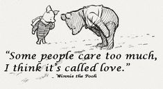 """Some people care too much...I think it's called love."" Winne the Pooh"