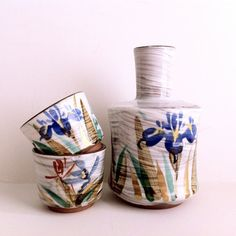 Vintage Japanese Kutani Whistling Bird Sake Set 6 Cups