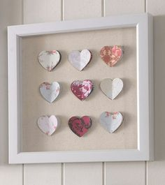 Punched Heart Art work - you could use paper for the hearts, I love this!