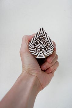 Hand carved (in India) wood textile block stamp