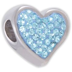 Connections from Hallmark Light Blue Crystal Stainless Steel Heart Bead. (owns)