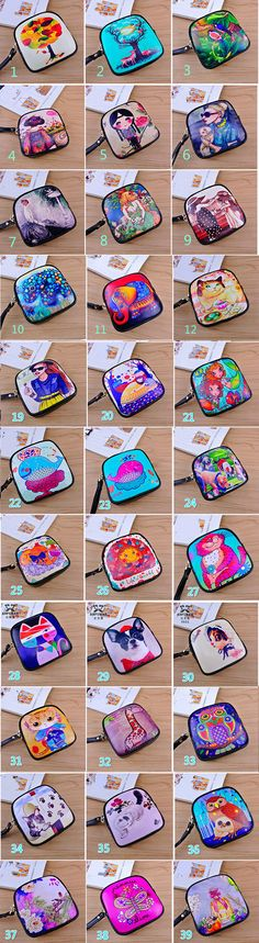Hot New Mini Cartoon Genuine Leather Oiled Painting Handbags Lady Clutch Coin Change Purse with Zipper Diy Wallet, Best Wallet, Tote Purse, Purse Wallet, Hobbies For Women, Designer Wallets, Wallets For Women Leather, Purse Organization, Change Purse