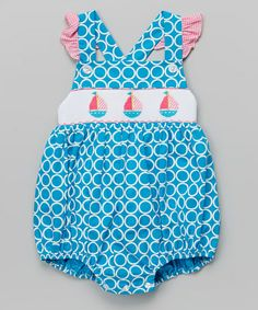 Loving this Turquoise Circles Sailboat Smocked Bubble Bodysuit - Infant on #zulily! #zulilyfinds