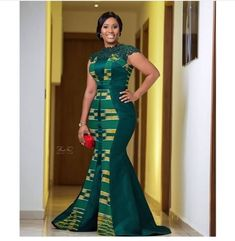 40 Gorgeous Wedding Dress Styles For Your African Traditional Wedding - The Glossychic Latest African Fashion Dresses, African Print Dresses, African Dresses For Women, Women's Fashion Dresses, Emerald Bridesmaid Dresses, Green Wedding Dresses, Gorgeous Wedding Dress, Nigerian Lace Dress, Kente Dress