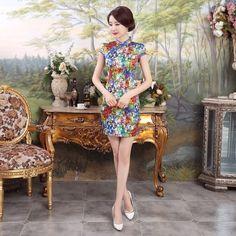 Short length Acrylic Fabric Cheongsam Qipao Chinese dress LGD8-01