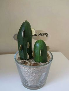Grappig geld kado - cucumber and coins to resemble cactus
