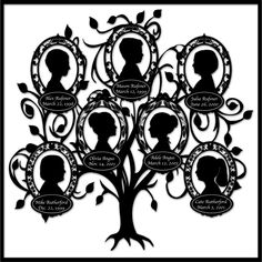 Personalized Family Tree Art - with 7 Silhouettes by CreativeFamilyTree on Etsy https://www.etsy.com/listing/96994251/personalized-family-tree-art-with-7
