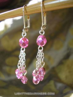 Pink Glass Bead Earrings for Breast Cancer Awareness