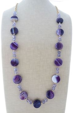 Purple agate necklace, chunky necklace, long amethyst necklace, beaded necklace, summer jewelry, gemstone jewelry, gioielli, stone necklace by Sofiasbijoux on Etsy