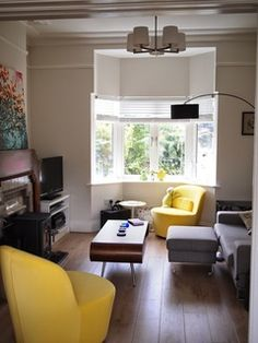 Image result for living room with bay window and fireplace ...
