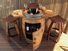 WINE BARREL TABLE,WITH WINE CHILLER,STORAGE,WHEELS,2 MATCHING STOOLS,BBQ,DINING