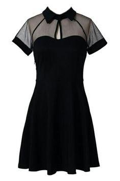 ROMWE   ROMWE Mesh Peak Collar Little Black Skater Dress, The Latest Street Fashion