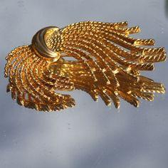 Vintage Gold Designer Brooch Spray Stunning via Etsy