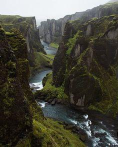 Fjaðrárgljúfur, Iceland. A beautiful, almost other worldly place. photo by © @annisellis. #earthfocus