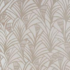 Papier peint gris ethnique style Art Déco CHARLOTTE'S FAN - Tapet Cafe - Au fil des Couleurs #artdeco #papierpeint