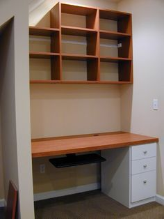 Desk Under Stairs created under the stairs for maximizing small space and
