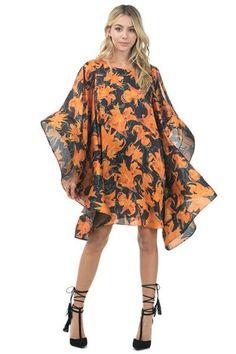 Heavily Flutter Slit Sleeve Flower Print Dress Trendy Fashion, Fashion Looks, Kimono Top, Flower, Party Dresses, Sleeves, Color, Shopping, Orange