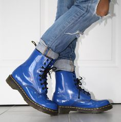Royal Blue Patent leather Doc Marten Boots - great condition - oil resistant, water resistant US size 8 UK size 6 L Train Vintage Clothing NYC : Sold Exclusively Online All sales are FINAL
