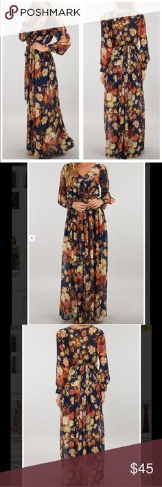 NWT Fall Floral Maxi Brand new with tags fall Floral Maxi dress with partial cold shoulder sleeves. Long sleeve, wrap v-neck front, color is rust/navy, lined to mid-thigh. Note: Back of bodice is somewhat sheer.                                                                  Fits 8-10, along with a size 12. The waistband stretches to fit a wide range of sizes. I am a 32DDD and had plenty of room in the bust! Miss California Dresses Maxi