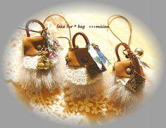 ファーと革のちいさなバッグのネックレス - ちっちゃなよろずや Drop Earrings, Christmas Ornaments, Holiday Decor, Jewelry, Home Decor, Bite Size, Jewlery, Decoration Home, Bijoux