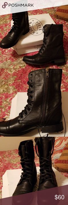 Steve Madden black leather boots These are a great pair of Steve Madden black leather boots. Has zipper on side and laces in front for maximum comfort. Worn only once. Size 8 womens. Very similar to some boots ive seen at Harley Davidson. Steve Madden Shoes Combat & Moto Boots