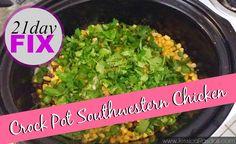Crock pot southwestern chicken - 1 red, 1 green, 1 yellow
