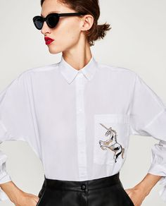 EMBROIDERED POPLIN SHIRT-View all-TOPS-WOMAN | ZARA United States