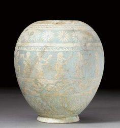 AN EGYPTIAN POLYCHROME FAIENCE VASE PTOLEMAIC PERIOD, CIRCA 3RD-1ST CENTURY B.C.
