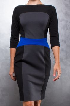 $1180 Azadeh Colorblock Wool Dress via boutiika.com