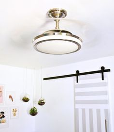 Bright and airy bedroom (before + after) pendant lamp with retractable clear ceiling fan blades