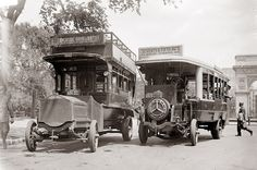 Two old buses in New York City from 1913