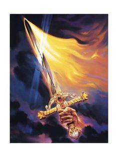 Giclee Print: Christian Sword of Spirit by Jeff Haynie : 24x18in Spiritual Warrior, Prayer Warrior, Spiritual Warfare, Art Prophétique, Flaming Sword, Flaming Dragon, Image Jesus, Sword Of The Spirit, Jesus Christus