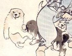 一笑図(長沢芦雪 画)ピックアップ Pom Dog, Animal Posters, Japan Art, Woodblock Print, Chinese Art, Line Drawing, Love Art, Illustration, Sketches