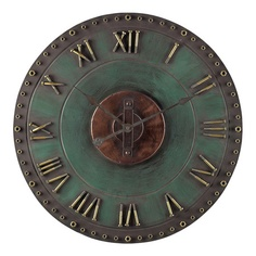 Cool industrial style clock with Roman numerals.
