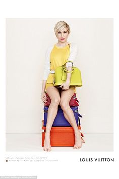 Laid-back style: Michelle Williams has kicked off her heels for the new Louis Vuitton accessories campaign