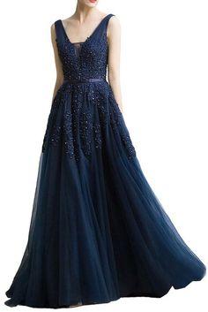 Milano Bride Damen Lang A-Linie Abendkleid Tuell V-Ausschnitt Spitze Applikation Band-32-Dunkelblau