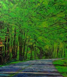 Green Forest Drive On Metal