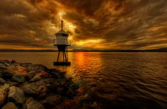 """photo """"Lighthouse."""" tags: landscape, Europe, clouds, night, sea, summer"""