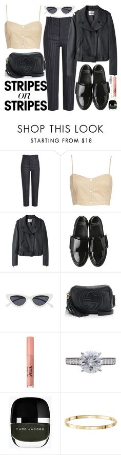 """""""Caught by surprise"""" by carolsposito ❤ liked on Polyvore featuring Étoile Isabel Marant, Leith, Acne Studios, Giambattista Valli, Gucci, Too Faced Cosmetics, Cartier, Isabel Marant, stripesonstripes and PatternChallenge"""