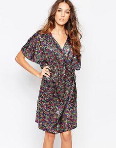 First+&+I+Sequin+Kimono+Sleeve+Dress