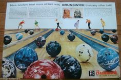 1962 BRUNSWICK BOWLING BALL AD CROWN JEWEL IMPERIAL BANTAM STARFIRE BLACK BEAUTY