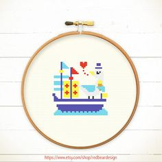 Modern Cross stitch pattern PDF  Captain Seagull by redbeardesign, £3.00